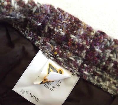 """Vintage tweed skirt UNUSED 1970s wool mix DOMINANT Waist 30"""" 32"""" purple"""